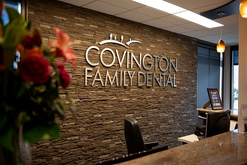 The reception desk at Covington Family Dental